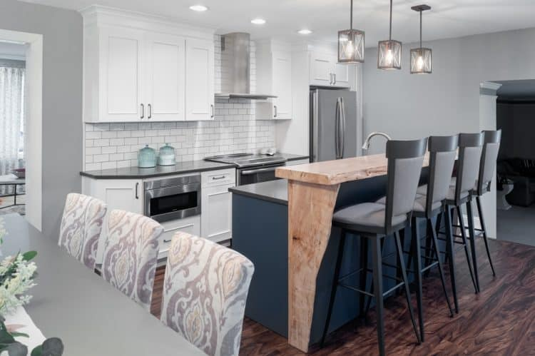 Contemporary Mix and Match Kitchen Island with Live Edge