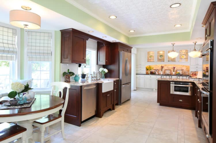 Tradtional Dark Wood Kitchen in Nina Green Signature Series Cabinetry Overview