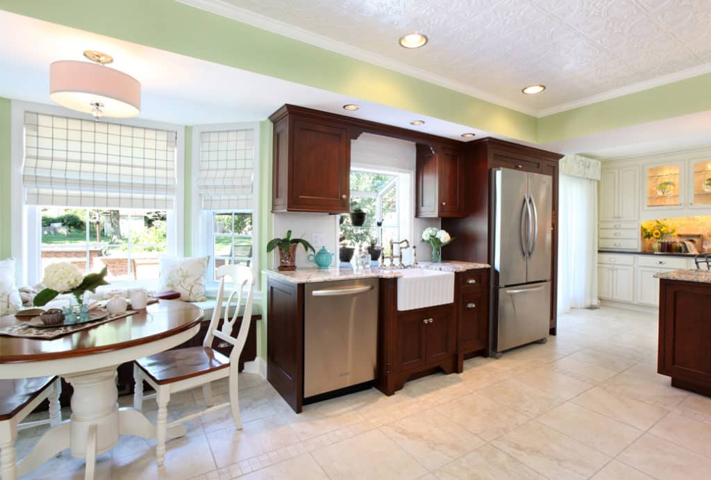 Traditional Dark Wood Kitchen With Breakfast Nook Ngd Interiors