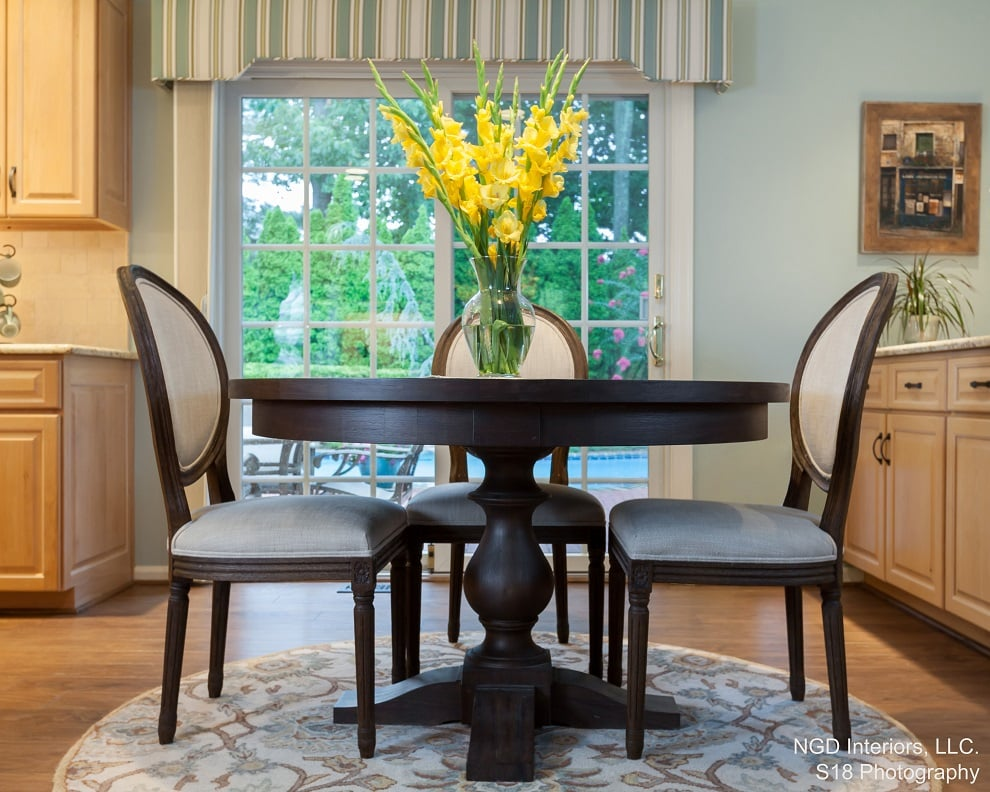 Traditional Eat In Kitchen Refresh breakfast nook with custom upholstered chairs