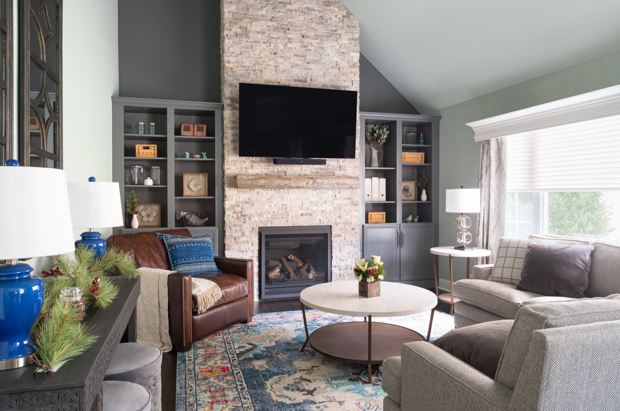 Transitional Rustic Living Room   NGD Interiors Philly ...